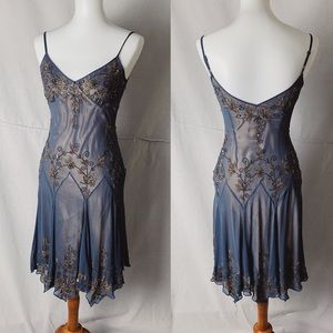 ADRIANNA PAPELL Art Deco Beaded Silk Dress